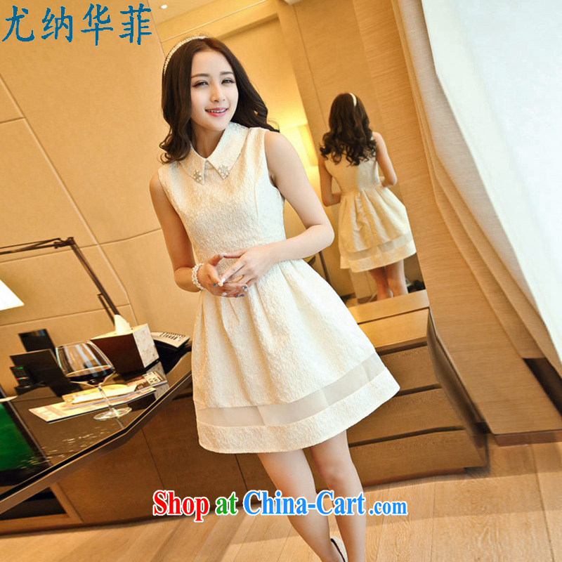 In particular, China , 2015 spring new Korean Beauty sleeveless bridesmaid dress dresses shaggy skirt white M