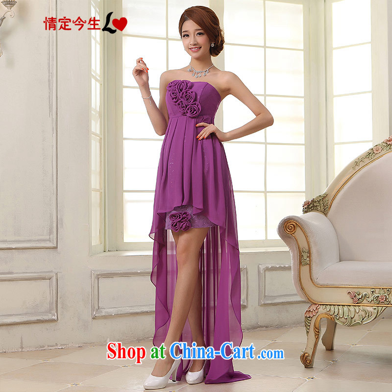 Love Life 2015 new wedding dresses short before long gown bridal toast serving evening dress purple bows clothing purple XXL