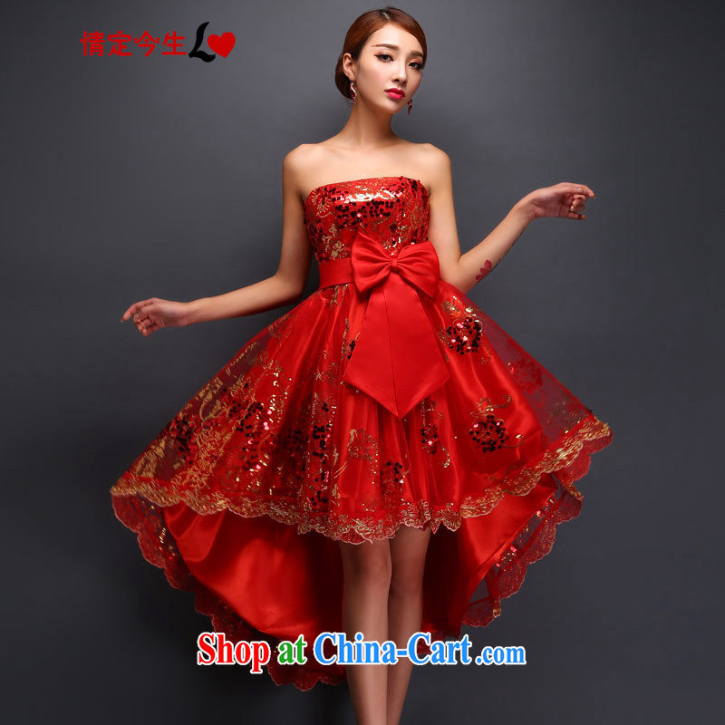Love Life 2015 spring and summer new toast serving short bridal marriage after a long small dress skirt stylish beauty graphics thin lace bare chest red XXL