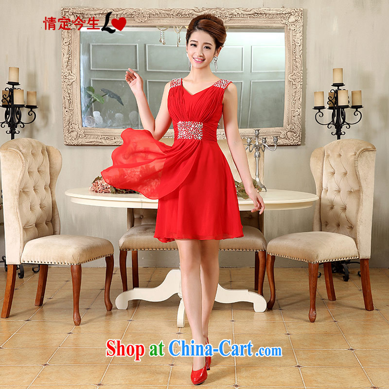 Love Life snow woven dress 2015 new hand-dress bridal wedding dress short bows service beauty graphics thin lace wedding dress red XXL