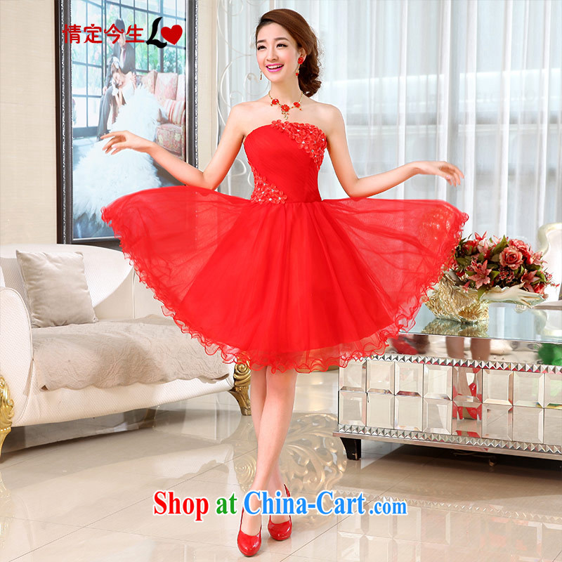 Love Life 2015 new bridesmaid toast wedding dress Evening Dress short beauty graphics thin lace shaggy dress wiped chest Korean Red L