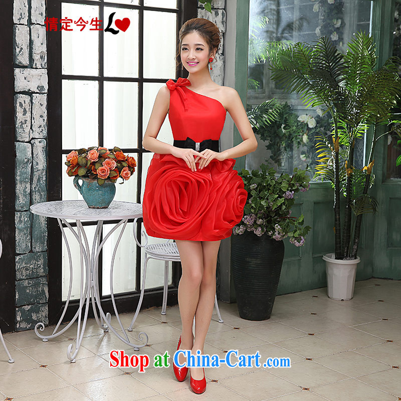 Love Life single shoulder stylish Korean marriages served toast red shaggy skirts dresses moderator dress female short red M