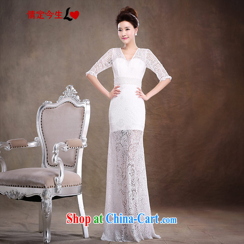 Love Life wedding dresses new 2014 marriages served toast red evening dress long Graphics thin beauty white XL