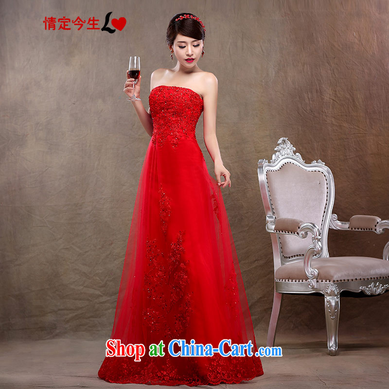Love Life 2015 NEW GRAPHICS thin dress red bridal wedding dress wiped his chest long lace bridal toast serving the gift red XL