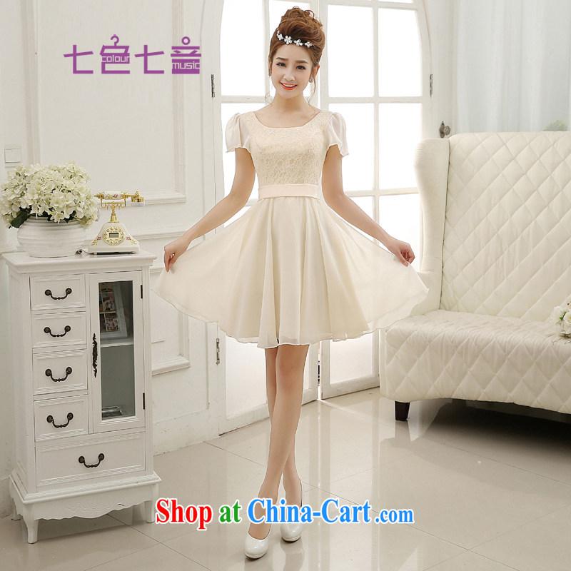 7-Color 7 tone Korean version 2015 new Snow woven champagne color bridesmaid dress short bows service dress L 009 champagne color XXL