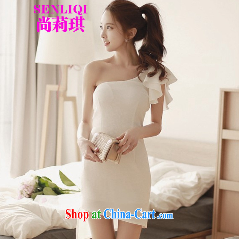 There is Li Chi summer 2015 new female Korean sense of my store the shoulder is not rules skirt is cultivating graphics thin dresses 4089 white 4089 are code