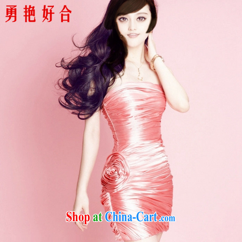 Yong-yan and Fan Bing Bing with watermelon red wrinkled short dress wiped chest bridal bridesmaid 2015 new packages and small dress watermelon Red. size color is not returned.