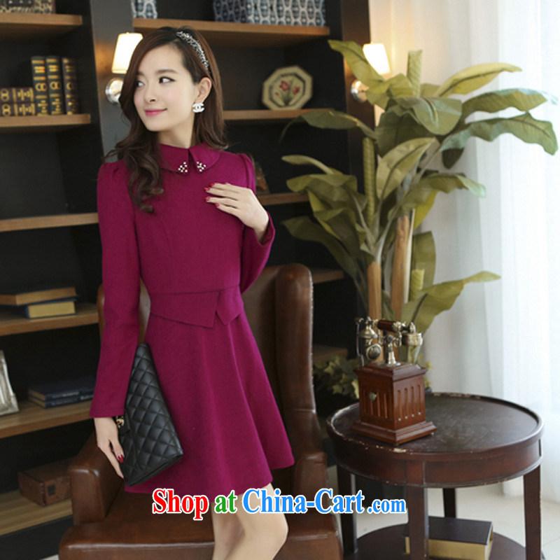 Optimize the Cayman (yousiman) new Korean women, waist zipper stylish beauty dresses dress 265 rose red XXL
