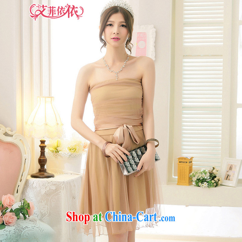 The Parting short Web yarn wiped his chest-waist small dress 2015 Korean wedding banquet hosted bridal bridesmaid sister with strap dresses 5343 card the color code