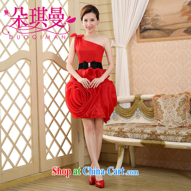 Flower Angel Cayman 2014 wedding dresses bowtie Red single shoulder the root by the three-dimensional volume take Black Belt marriages marriage toast small dress skirt red XL