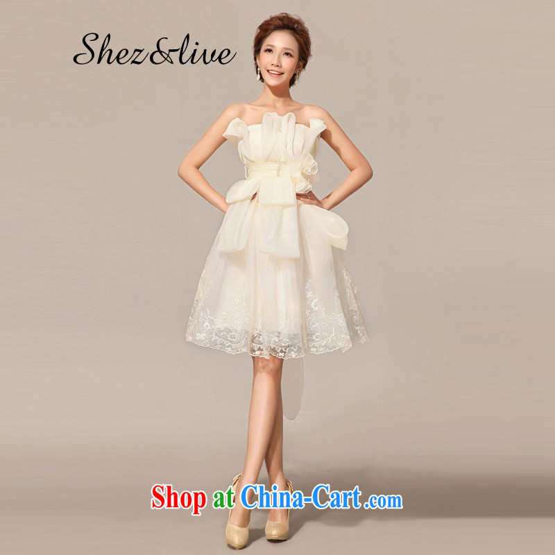 shez _ live female bridal bridesmaid wedding dress uniform toast dress Korean short wedding night banquet moderator shaggy champagne color XL