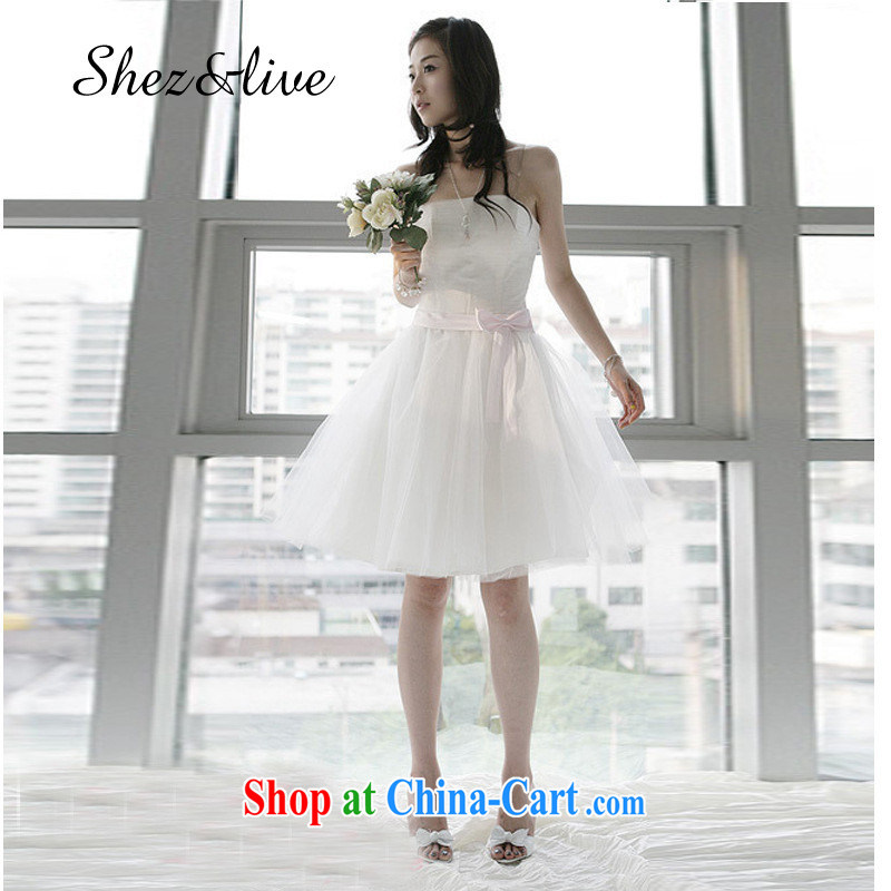 shez & live female bridal wedding short bows small dress short bridesmaid clothing bridesmaid dress dress evening banquet moderator shaggy Princess skirt white XXL