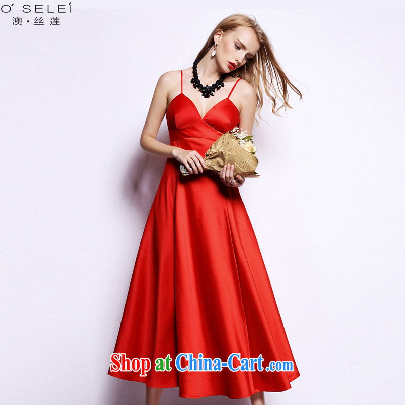 o, Lin 2015 new straps sexy dresses Evening Dress long female banquet bridesmaid bridal toast clothing red L