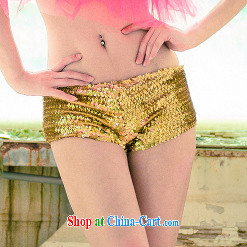 Dance to hip hop night DS bar dancer clothing hiphop hip-hop, jazz concert clothing, low-waist shorts hot pants #8439 golden S small code