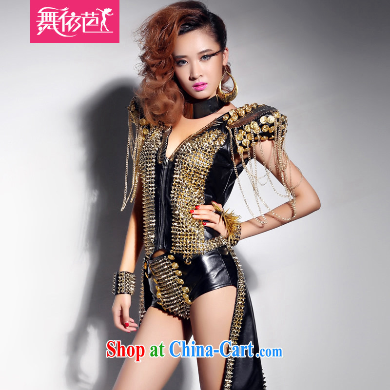 My Store �ư�Ů DS for dance clothing DJ stage with cool rivets Cultivating Female Singer service kit #8338 black L large code