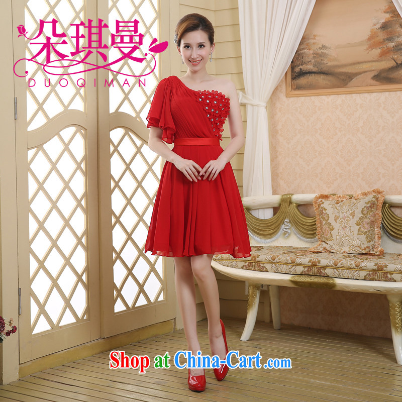 Flower Angel Cayman Korean sweet bridesmaid dresses small 2014 single shoulder short red bridal wedding dress toast serving XXL