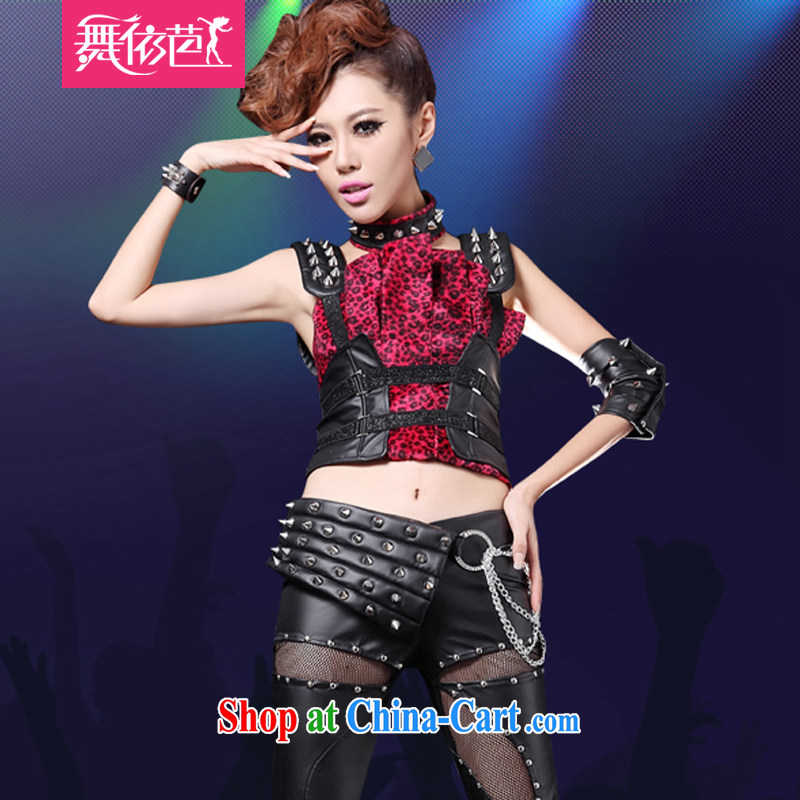 My Store DS 酒吧女 dancer costumes sexy value 5 piece Leopard stitching modern stage costumes #8561 black and red S small code