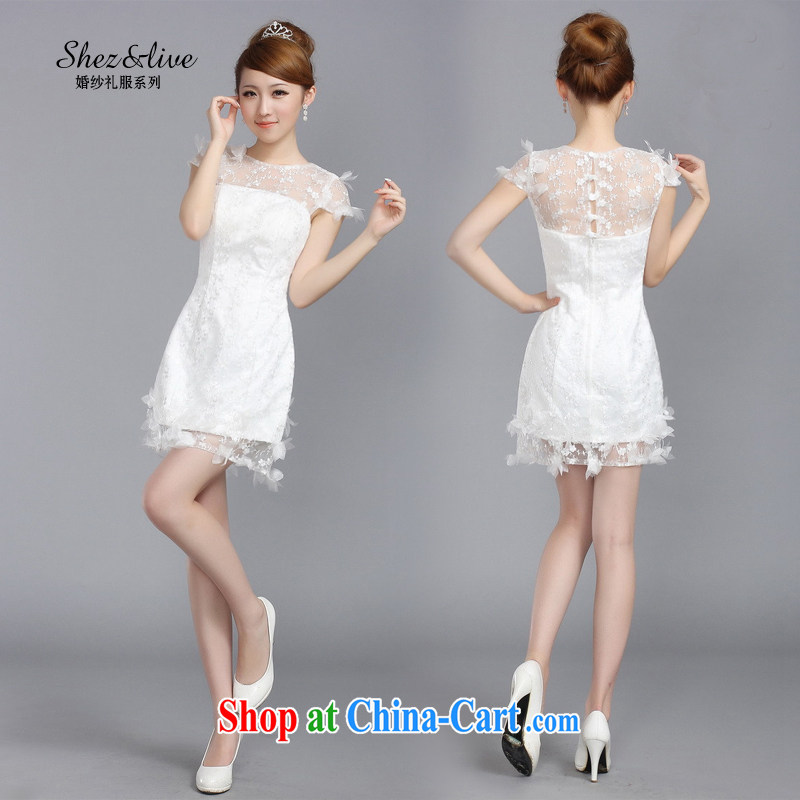 Shez _live female 2014 bridal bridesmaid wedding toast small dress double-shoulder lace dinner show the dress white S