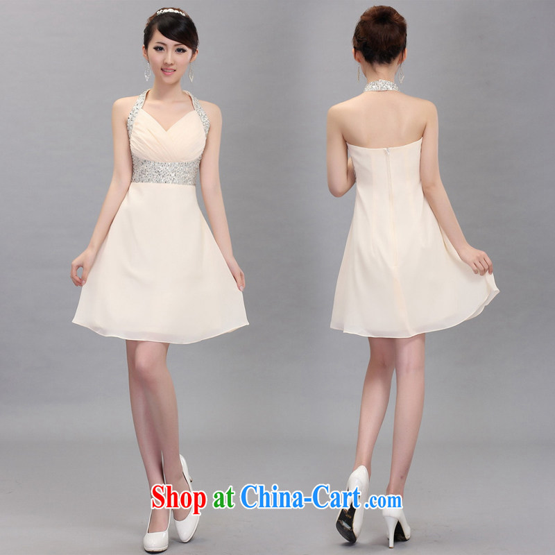 Shez _live female 2014 toast bride dress short-chair also beauty dress star wedding dresses champagne color XXL