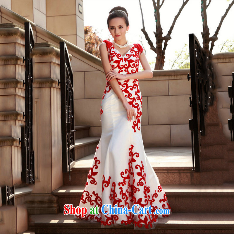 There is a luxurious new, red and white at Merlion long bridal wedding dress uniform toast appearances AL dresses 1489 white XS