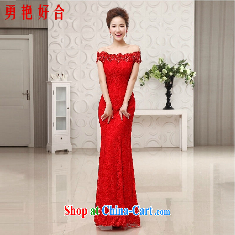 Yong-yan and new wedding dresses new 2015 stylish married a Field shoulder crowsfoot retro bride Korean bows dress evening dress red M