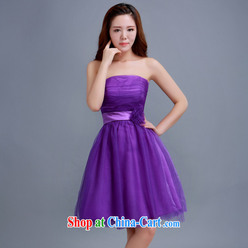 bridesmaid in short, small dresses summer 2014 new stylish short, Mary Magdalene chest Purple Purple dresses tailored