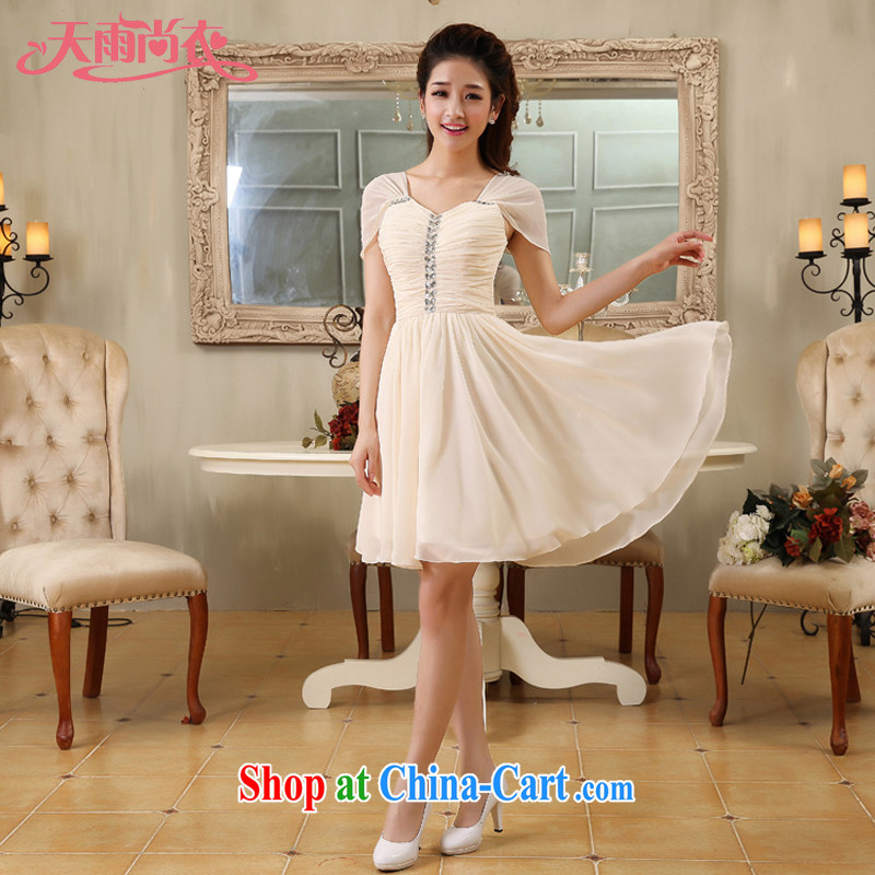 Rain is still Yi 2015 new bride wedding bridesmaid dresses small short shoulders woven snow sister mission LF 171 champagne color tailored