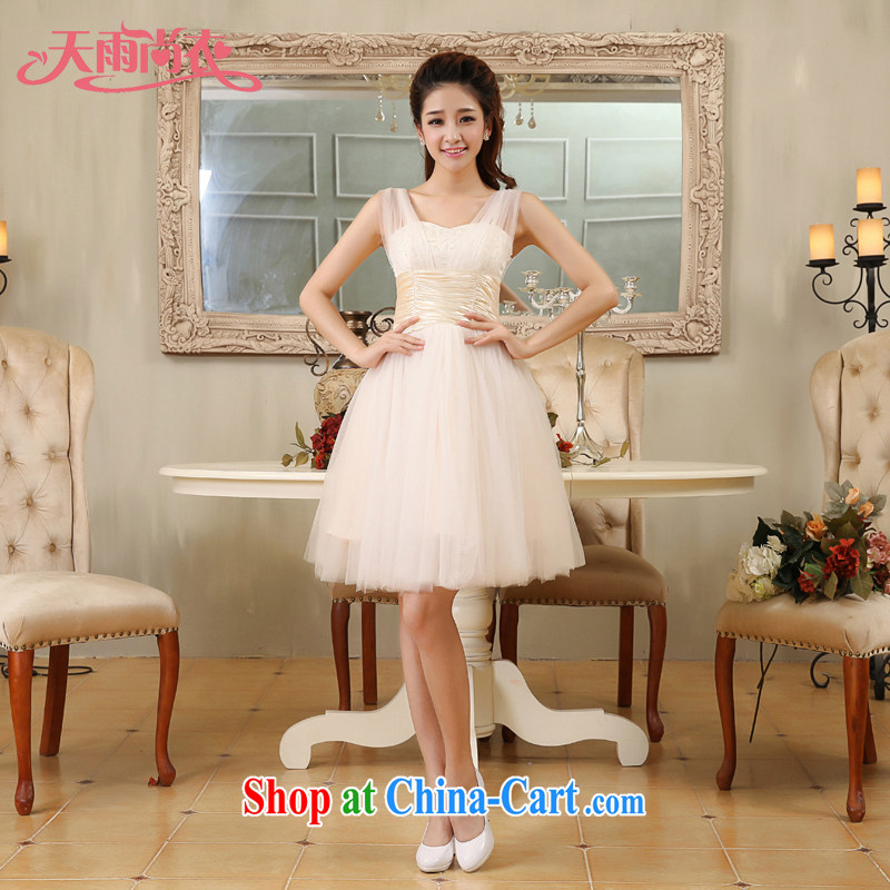 Rain is still Yi 2015 new marriage short, Shaggy Princess small dress bridal the wedding bridesmaid sister dress LF 177 champagne color tailored