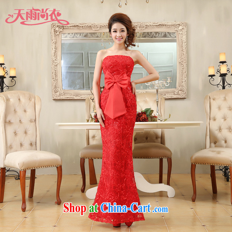 Rain is still Yi 2015 new erase chest red long bridal wedding dress moderator performance service serving toast LF 175 red tailored