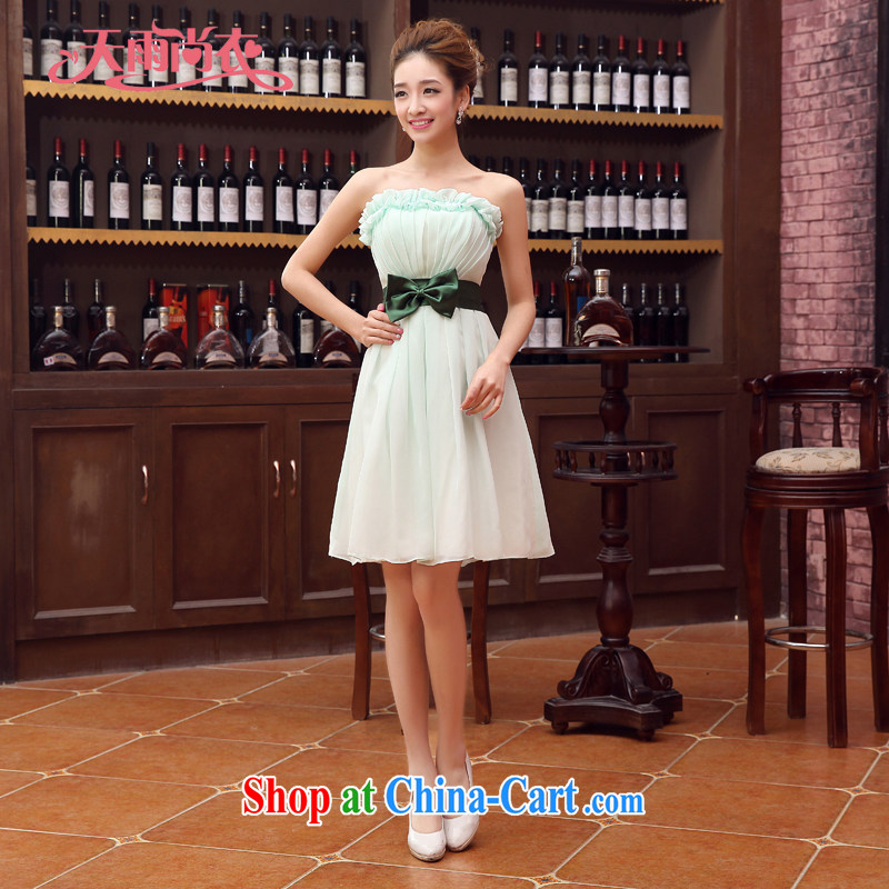 Rain is still clothing bridal wedding dresses 2015 new products the sweet bridesmaid skirts erase chest small dress LF 180 green tailored