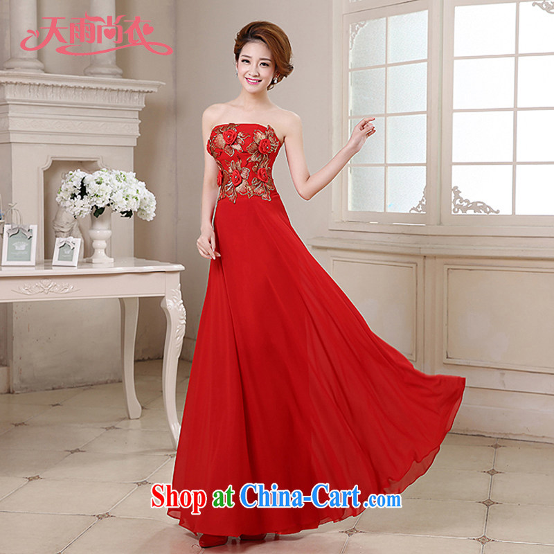 Rain is still clothing bridal 2015 new marriage toast stage moderator evening dress graphics thin flowers erase chest gown LF 188 red tailored