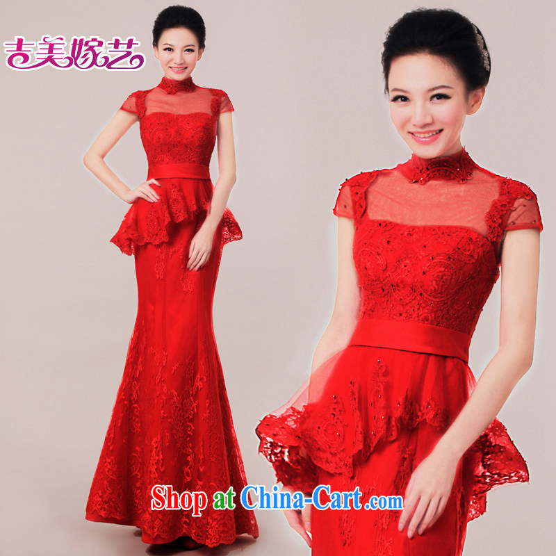 wedding dresses Jimmy married arts 2015 new bag shoulder-length, Korean dress LS 7307 bridal gown red XL