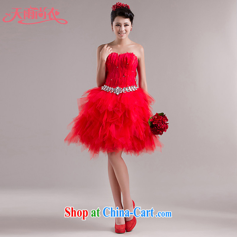 Rain is still Yi New bridal wedding dresses short bridesmaid dress wood drill Feather Gown dresses show LF 98 red tailored