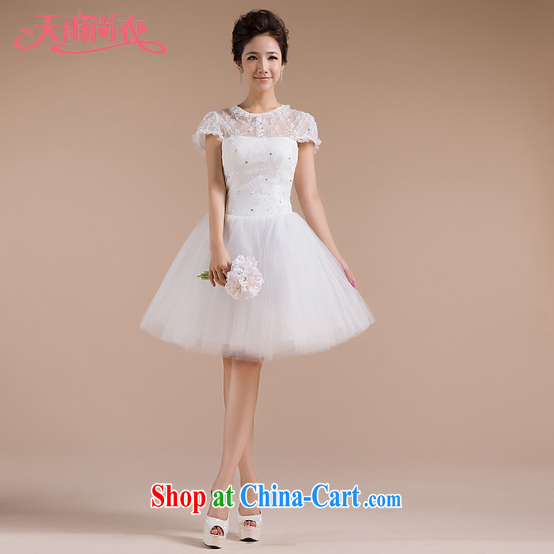 Rain is still clothing bridal wedding dresses 2015 new white short performances, presided over his shoulder dresses bridesmaid dresses small LF 87 white tailored