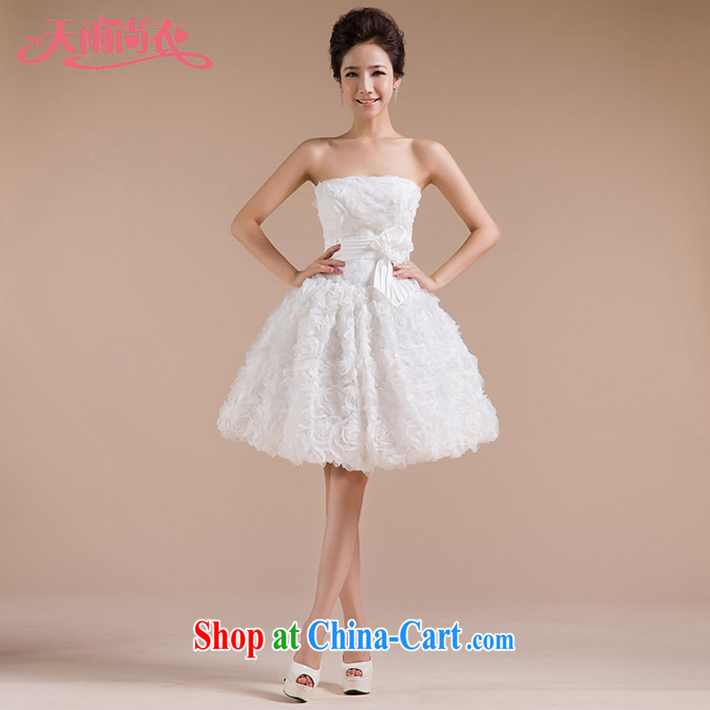 Rain is still clothing bridal wedding dresses 2015 new wedding white sweet Mary Magdalene chest strap shaggy Princess short skirt bridesmaid dresses small LF 83 white tailored