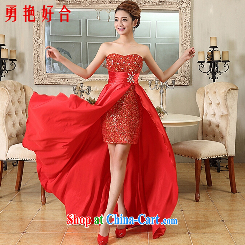 Yong-yan and 2015 new Korean bridal toasting champagne color before after a long evening dress woman banquet service sweet red. size color will not be returned.