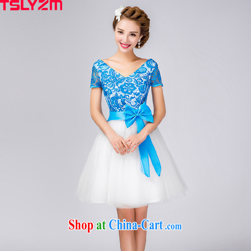 2015 tslyzm Europe small dress stylish short blue bridesmaid gift bridesmaid dress, waist bows clothing retro gathering sister dress uniform performance light blue XXL