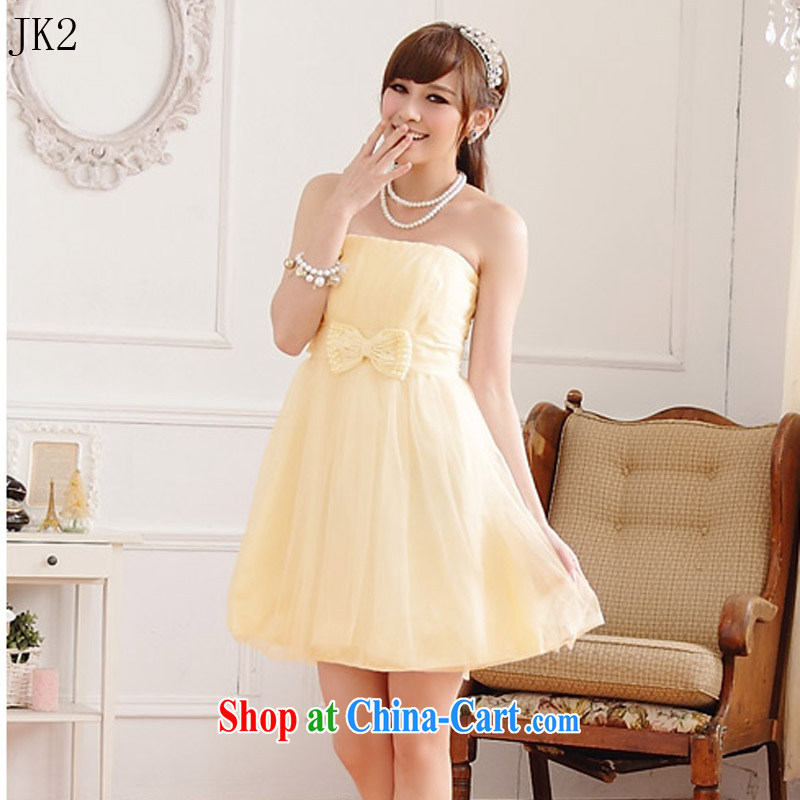 Sweet sister dress Bead Chain bowtie thin waist Web yarn end chest shoulder dress dresses JK 2 9712 champagne color XXXL