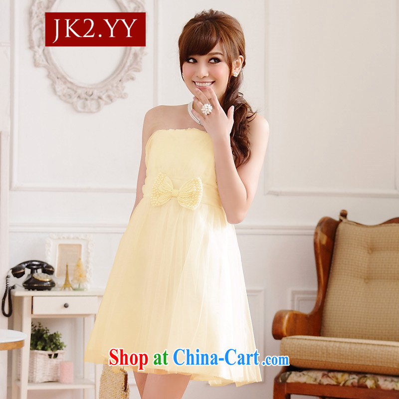 JK 2. YY sweet sister bridesmaid dress Bow Tie thin waist Web yarn end chest shoulder dress dresses champagne color