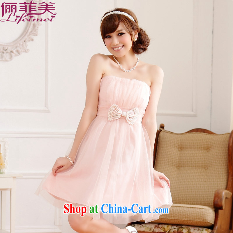 An Philippines and the United States the code mm thick, Japanese and Korean style sweet Mary Magdalene chest small dress Web yarn bow-tie pin beads back elasticated skirt Princess sister bridesmaid high waist even skirt pink XXXL