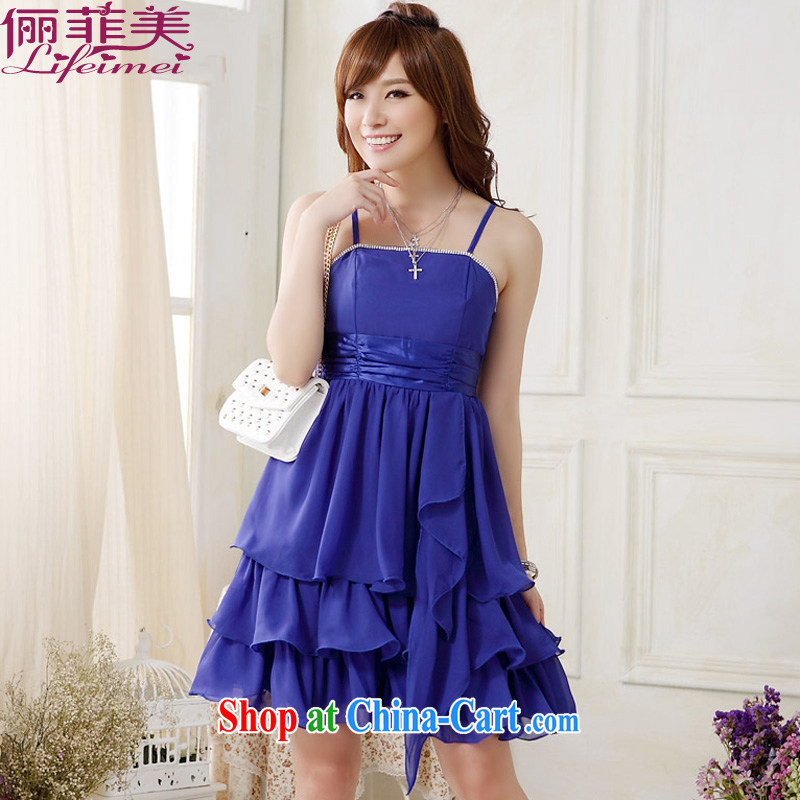 An expensive beauty with dress straps hot drill snow woven layers cake larger graphics gaunt waist waist with elasticated drill sister skirt dance annual evening dress short even skirt blue XXXL