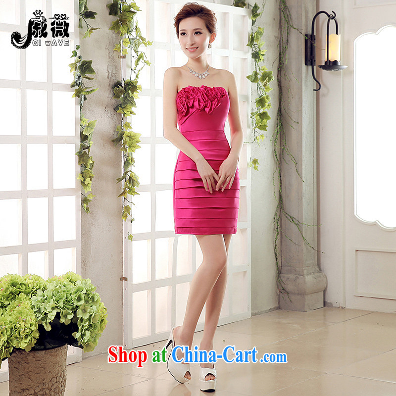 Wei Qi 2015 summer new bride toast clothing wedding dress chest bare short stylish beauty package and bridesmaid serving short video thin women dress red XXL