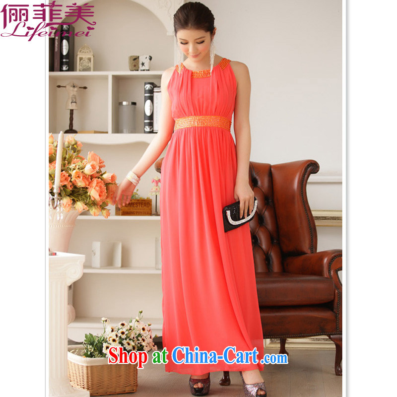 An Philippines and the United States and Europe atmospheric Evening Dress long dress with manually staple Pearl collar high waist black snow woven long skirt covered shoulders vest long dress the code-length skirts orange XXXL