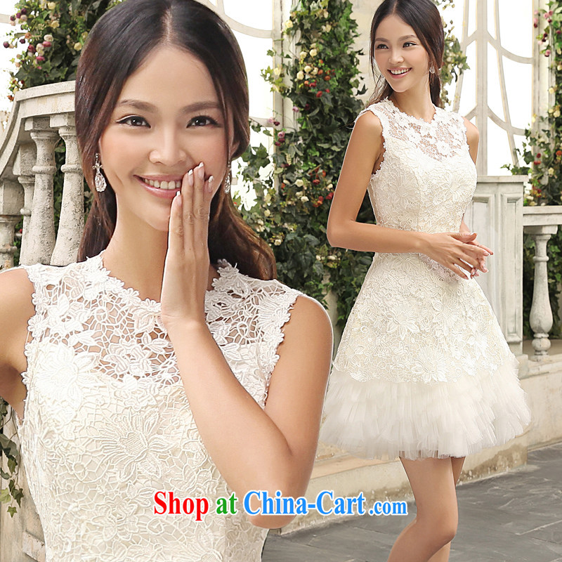Moon 珪 guijin 2014 new wedding dresses lace bridesmaid serving short white field shoulder small dress dress woman dress red S code from Suzhou shipping