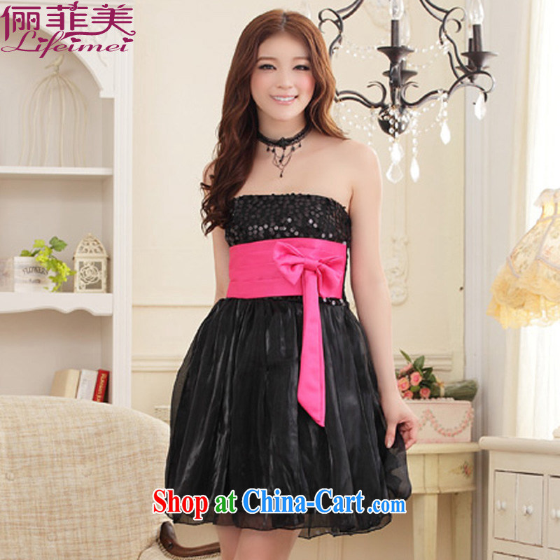 Philippines contributed US stylish Princess skirt the chest staples, high waist belt Bow Tie Elasticated waist even dress annual performance small dress sister even skirt black XXXL
