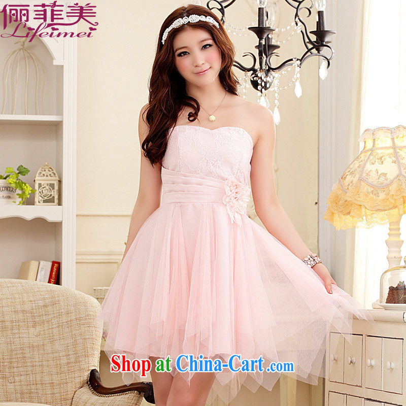 An Philippines and the United States the Code women mm thick small dress wiped chest lace spell Web yarn is not rules, with short, sister bridesmaid dresses small pink XXXL