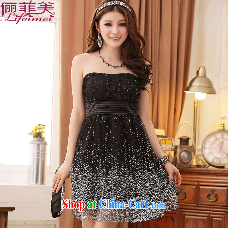 An Philippines and the United States is the bare chest dresses Evening Dress back elasticated dress dot small dress high waist beauty, Japan, and South Korea dress black XXXL