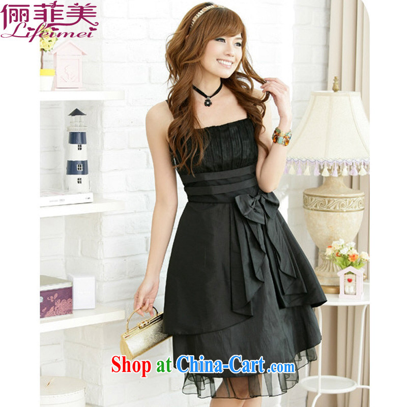An Philippines and the United States, Japan, and South Korea suspended with the dress code show annual banquet beauty graphics thin color-color, high-waist Bow Tie small dress evening dress black XXXL