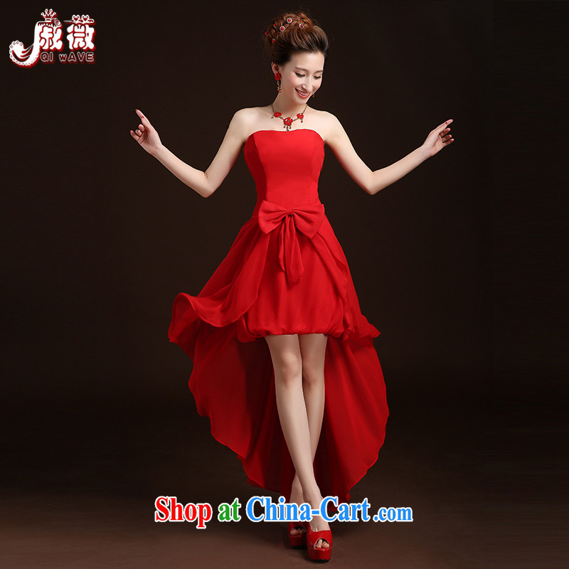 Qi wei summer 2015 New Red dress wiped his chest wedding dresses short before long evening dress bridal gown wedding dress toast serving long, tied with a short ceremony red custom plus $30