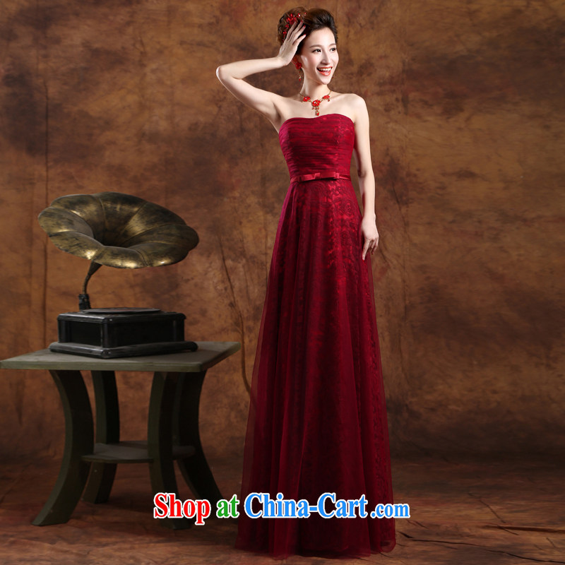 Ms Audrey EU solidarity summer 2015 new stylish wedding dresses wine red dress wiped his chest dress long bows Service Bridal wedding dress Banquet hosted dress female Red Custom for the $30